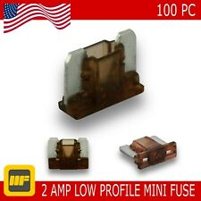 100 Pack Low Profile Mini Blade Fuse 02 Amp Marine SUV Truck Auto RV Automotive