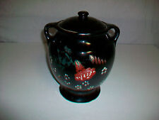 Vintage USA Stoneware Pottery Painted and or Glazed Lidded Cookie Jar