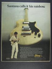 1976 Gibson L6S Electric Guitar Carlos Santana photo vintage print Ad