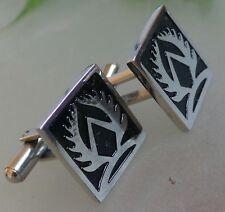 Stainless Steel Enameled Black Cufflinks Mens Masonic square shape