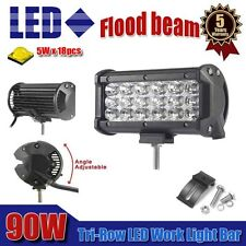 "7"" INCH Tri-Row 90W Led Work Light Bar Flood Offroad Driving 4WD ATV Jeep Truck"