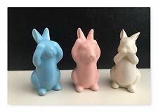 Sass & Belle Set of 3 Pastel Ceramic Peekaboo Bunnies Rabbits Bunny Easter Gift