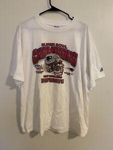 Vntg Adidas 2002 New England Patriots SuperBowl Champs Official Tee Tom Brady XL