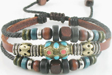 Adjustable Tribal Hemp Leather Bracelet Wristband Beads Beaded Mens Womens #20