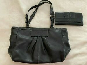 Coach Black Leather Handbag with Matching Wallet