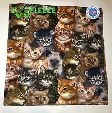 "ZooFleece 50X60"" Blanket Gray Throw Kitty Cat Kittens Feline Winter Paws Gift"