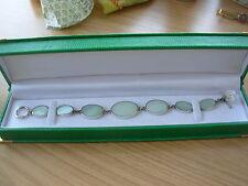 Grazioso Bracciale timbrato 925 Argento 7 sezioni Ovale Verde Pallido vetro opalino? NUOVO IN SCATOLA