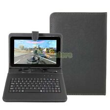 """New PU Micro USB Plug Keyboard Leather Case Cover Stylus for 9"""" Tablet Black"""