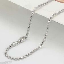 Perfect 18K Solid White Gold Necklace / Rope Chain Charming / 2.3g