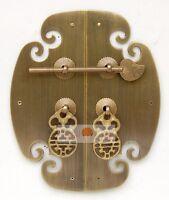 "2.9/"" Dark Chinese Furniture Brass Hardware Copper Lock Clearance"