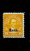 """US #668 Mint-Never Hinged ~ """"Kans.""""  Overprinted Single ....Free Shipping.....Y"""