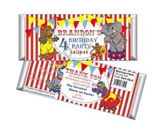 Circus Birthday Candy Bar Wrappers - Birthday Favors - Set of 12