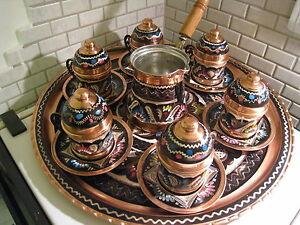 Vintage Handmade Copper Turkish Coffee&Espresso Serving Set:OTTOMAN STYLE -6CUPS