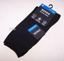 2x Bonds Mens Black Cotton Touch Rib Stretch Socks 2 Pack Size 11 - 14 New