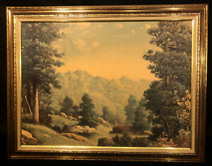 Vintage Truart Framed Litho Board Picture Mountain scene E12567 Beautiful Frame