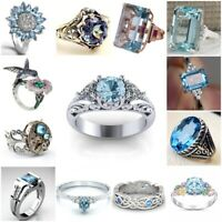 Fashion 925 Silver Aquamarine Ring Women's Wedding Engagement Jewelry Size 5-11