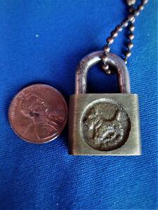 antique MINI SCOTTY DOG jewelry treasure chest animal collar padlock lock w KEY
