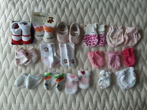 Huge Lot Newborn Baby Girl Socks Shoes Mittens Mixed Lot Carter's Paul Franks