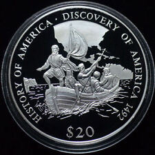 Liberia 2000 Large Silver Proof $20-Discovery of America-Columbus in Boat