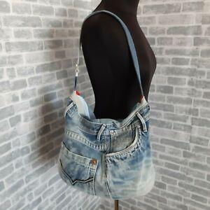 Handmade hobo denim bag Casual tote bag of jeans Denim shoulder bag Large bag