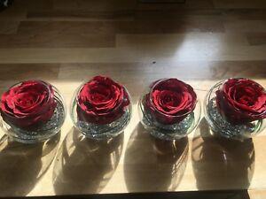 MODERN SET OF 4 RED ROSE & GRASS ARTIFICIAL FLOWER ARRANGEMENTS IN GLASS BOWLS