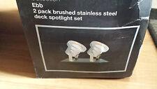 2 x 12 volt / low voltage stainless steel garden lights / spot lights + transfor