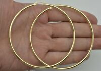 "10k Solid Yellow Gold ""big Large"" Plain Round hoop Earrings 3'' 80 x2MM 4.GR"