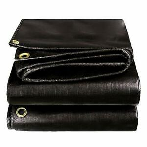 BLACK PREMIUM 14 MIL REINFORCED EXTREME HEAVY DUTY POLY TARP (CHOOSE YOUR SIZE)