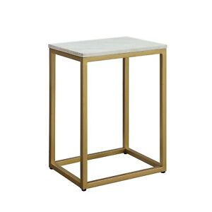 Mainstays End Table, White Top with Gold Frame For Home