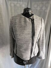 Lane Bryant Black White Silver Lurex Knit Boucle Asymmetric Zip Moto Jacket - 14