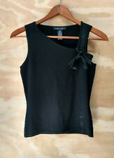 Banana Republic Silk Cashmere Black Sleeveless Knit Top Bow Tie Women's Size XS