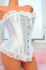 White Bridal Shiny Satin Lacy Ruffled Frilly Sexy Sissy Bustier Corset sz S