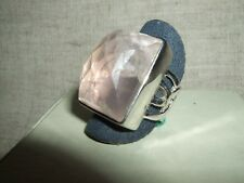 ANELLO RING QUARZO ROSA ROSE QUARTZ SFACCETTATO ARGENTO 925 STERLING MIS.14,5