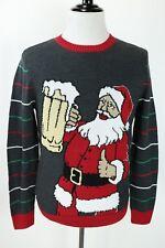 Ugly Christmas Sweater Beer Mug Glitter Santa Drinking Holiday Sweater Mens M