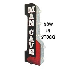 MAN CAVE Off the Wall Tin Sign, Double sided  BIG BOLD LED Lights