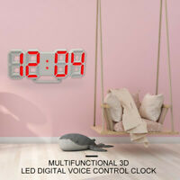 Large LED Digital Alarm Clock Desk Table Wall Snooze Timer 3D Display USB US P2