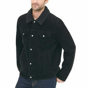 GH Bass  Mens Zip Snap Sherpa Corduroy Jacket Size XL BLACK Sherpa Lining  NEW
