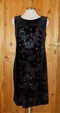 ROMAN black stretch velvet metallic silver floral midi party evening dress S8-10