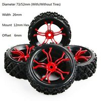 4X 1/10 Rally Tire Wheel For RC 1:10 Off Road Model HSP HPI Car Tyres 12mm Hex