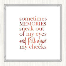 Rose Gold Memories Sneak Out Quote Drinks Mat Coaster
