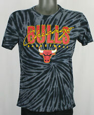Chicago Bulls Retro Vintage Script Tie Dye Gray T-Shirt Mens S NBA Jordan