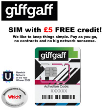 3 x Giff Gaff 4G Pay As You Go Nano Micro Standard SIM Cards With FREE £5 Credit