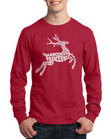Christmas Reindeer Typography Men's Long Sleeve T-Shirt