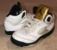 Nike Air Jordan Youth Retro 5 Olympic White, Gold 44089-133 Kids Size 12.5C