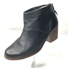 TOMS Lella Bootie Sz 6 Black Leather Back Zip Heels Ankle Boots Heel Tassel