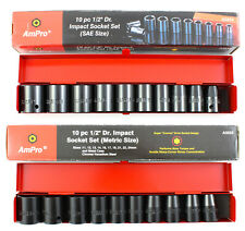 1/2 IMPACT SOCKET SET COMBO AMPRO TRADE QUALITY TOOLS DIN STANDARDS Special
