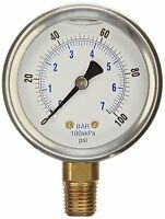 NEW STAINLESS STEEL LIQUID FILLED PRESSURE GAUGE WOG WATER OIL GAS 0 to 100 PSI