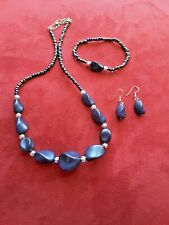 Fashion Jewelry Necklace, Bracelet and Earrings Blue Beads