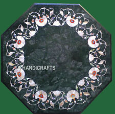 "12"" Green Marble Coffee side Table Top Inlay Handmade Work Home Decor"
