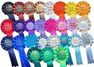 """10 x """"Well Done"""" Rosettes  or PERSONALISED"""